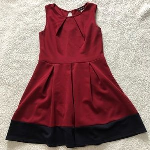 Red and navy dress